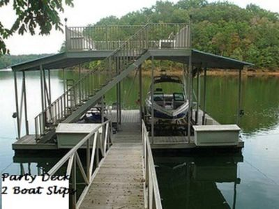 Dock with boat lift and party deck...