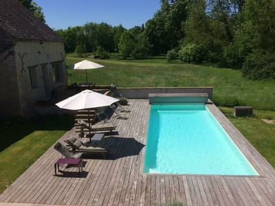 Photo for Cozy Holiday Home in Yèvre-la-Villa with Pool