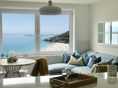 Photo for Blue View | St Ives. One bed apartment with car parking and incredible sea views