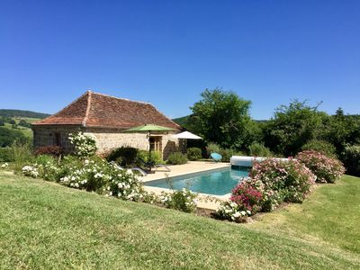 Photo for Romantic Deluxe Cottage for Two in Idyllic setting.  Large private HEATED pool