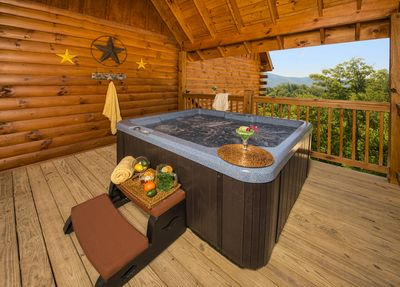 Hot tub with view of mountains and a TV (Installed after this picture was taken)