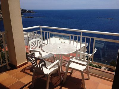Photo for 5. Apartment with incredible views of the Bay of Roses with community pool.