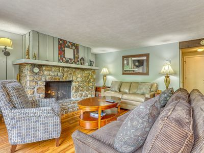 Photo for Revamped condo at base of Sugar Mountain w/covered balcony and stone fireplace