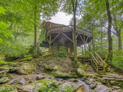 Photo for Secluded mountainside home w/spiral staircase and views of creek