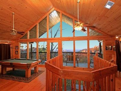 Photo for 2 bdrm Log Cabin, View & Location!  Pool,  WIFI, pool table, 10 mins to Pgn Frg