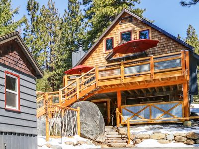 Photo for Two cabins with hot tub, deck, fire pits, skiing - walk to sand & water!