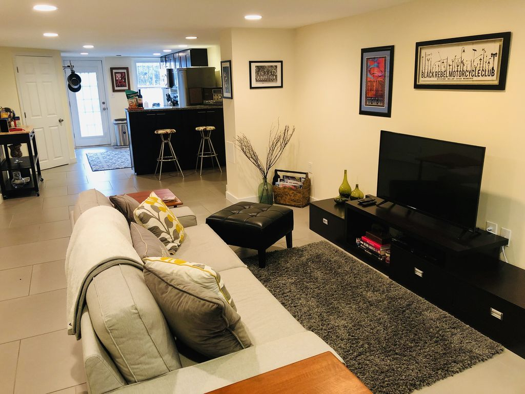 Our airy eclectic English basement is full of space and all the comforts of home