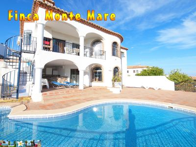 Photo for Family friendly villa with private, heated pool and wonderful sea view