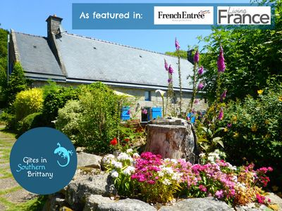 Photo for Le Crann hamlet - two 16C cottages - bikes - heated pools - superb views - WiFi