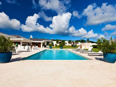 Photo for Glamorous Beachfront Villa, Infinity pool, Beachside Jacuzzi, Cinema, Tennis court, Wifi