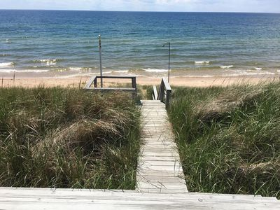 100' of private beach frontage on Lake Michigan