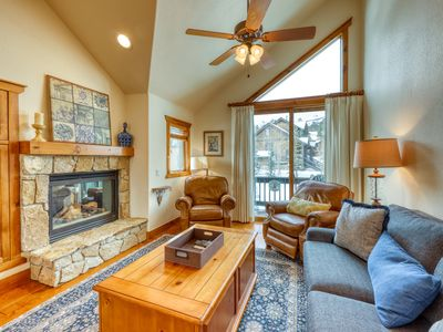 Photo for Ski-in/out condo w/ a private hot tub, gas fireplace, & beautiful mountain views