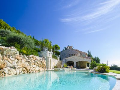Photo for Luxury villa rental w/ pool, jacuzzi, superb view near Nice, Cannes & Monaco