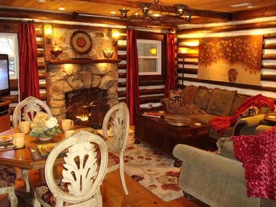 Photo for HERITAGE LOG CABIN: HotTub/King & Qu/FP/Massage Chair/Fire Pit/WiFi/Dog Friendly
