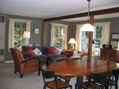 Cozy living and dining room with fireplace