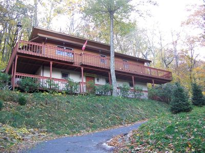 Photo for Cozy Mountain Home with Wrap-Around Deck. Hot Tub outside. Close to amenities