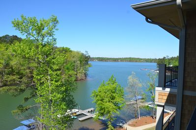View of lake from the covered porch.
