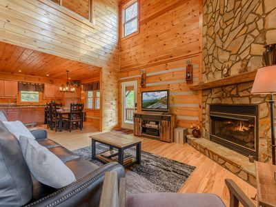 Photo for 3 BR Log Cabin, Scenic Views, Large Decks, Hot Tub, Grill, Pool Table, Ping Pong, Foosball