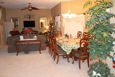 Our livingroom and diningroom at Christmas time if you choose to decorate.