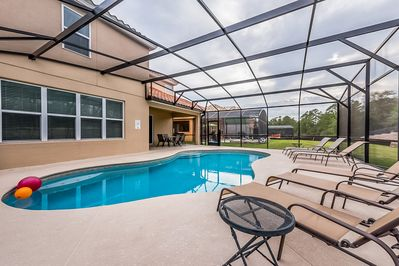 Private pool, large extended deck and built in lanai for shade