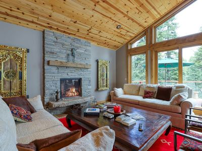 Photo for Luxurious cabin w/ private hot tub, gas fireplace, full kitchen, furnished deck