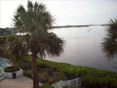 Spectacular view of Little Sarasota Bay from the living room and master bedroom