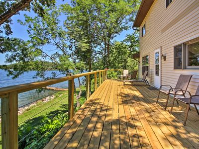 Photo for Lakefront Brandon Home w/ Fire Pit, Deck & Dock!