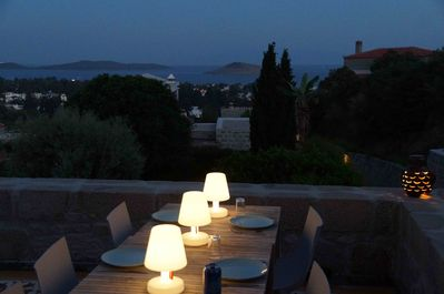 Dinner with view on the Aegean sea
