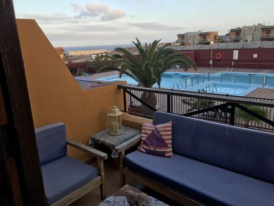 Photo for Lovely apartment with sea & swimming pool views in Costa Antigua, Fuerteventura