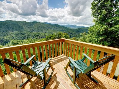 Photo for AMAZING mountain views, best in Blue Ridge! Hot tub, secluded, dogs ok, wifi