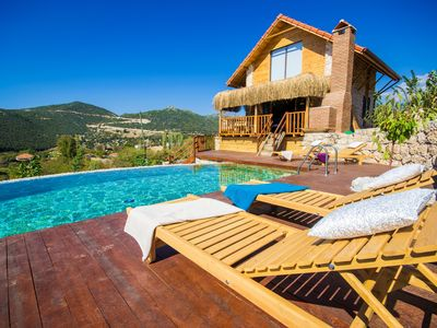 Photo for Charming Rustic Style Ecological Honeymoon Villa with Pool and Views