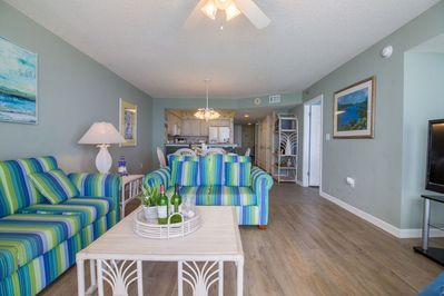 Beautifully decorated in blues and greens to match the view