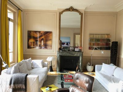 Impressive duplex, trees view on square opposite, sunny, right in the Paris center and fashionable districts. Luxury Apartment