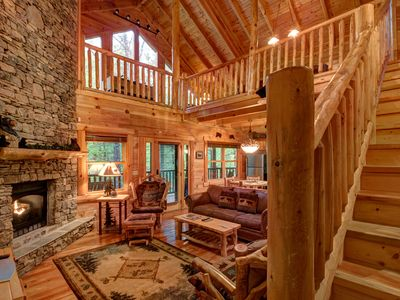 Photo for Secluded cabin near creek w/ hot tub, deck, game room & shared seasonal pool!