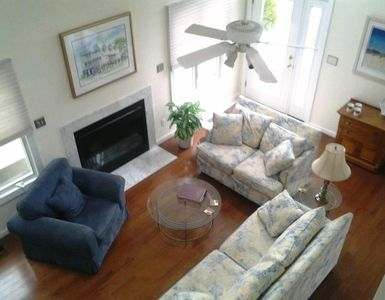 Great room, showing new hardwood floor (also in dining room)