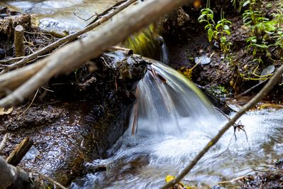 Falling water at the creek. Photo by Bob Hodson Photography