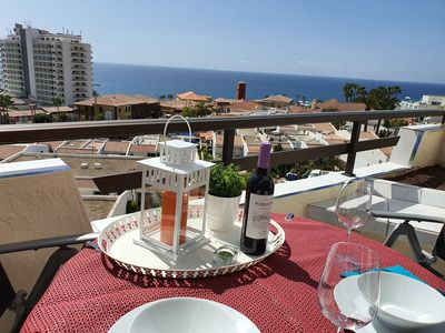 Photo for Apartm. Pueblo Canario, fantastic sea view, balcony, only 450 m to the beach, wifi