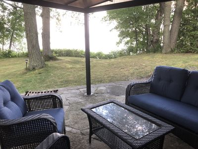 Your private covered patio with spectacular views of the lake