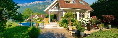 Photo for House full of character with private heated pool, park, Annecy lake view