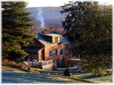 Photo for Serenity Falls Charming home w/ 8ft stone fireplace and firewood w/ mtn views