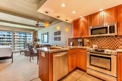 All stainless steel appliances in a custom kitchen