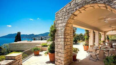 Photo for Luxury Villa on a Unique Beach Fronted Private Estate, Pool, Gym, Breathtaking Views to Ionian Sea!