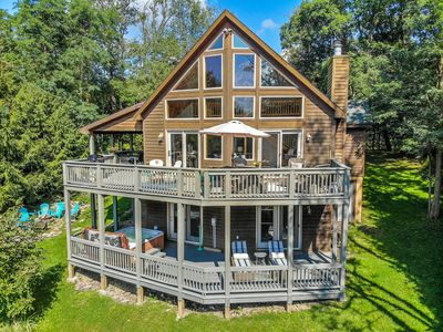 Photo for Enjoy beautiful mountain views from this dog-friendly, lake access chalet!