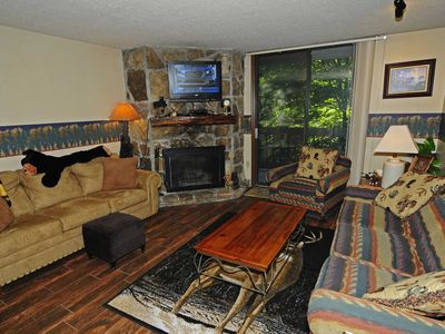 Photo for 1 Bedroom/1 Bath Condo Overlooking Mtn. Stream, Whirlpool, Patio, Fireplace