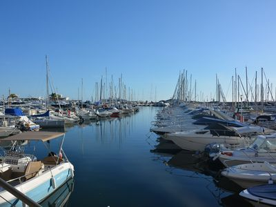 Photo for Flat very bright panoramic VIEW on the port of Golfe Juan - WIFI - LIFT LAST FLOOR - Washing...