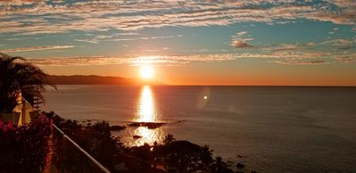 Breathtaking panoramic sunset view of South Shore from terrace
