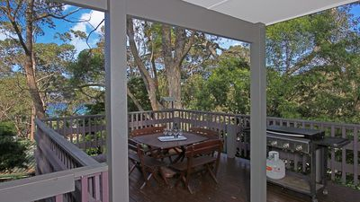 Up amongst the spotted gums with views of the beach.