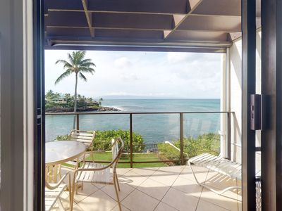 Photo for NEW LISTING! Oceanfront condo w/sunset views, shared pool, WiFi, walk to beach
