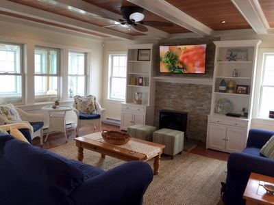 "Living Room -  Gas Fireplace, built-ins & 52"" Flat Screen T.V."
