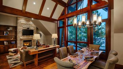 Spacious Living Room and Dining Area includes gorgeous floor to ceiling windows